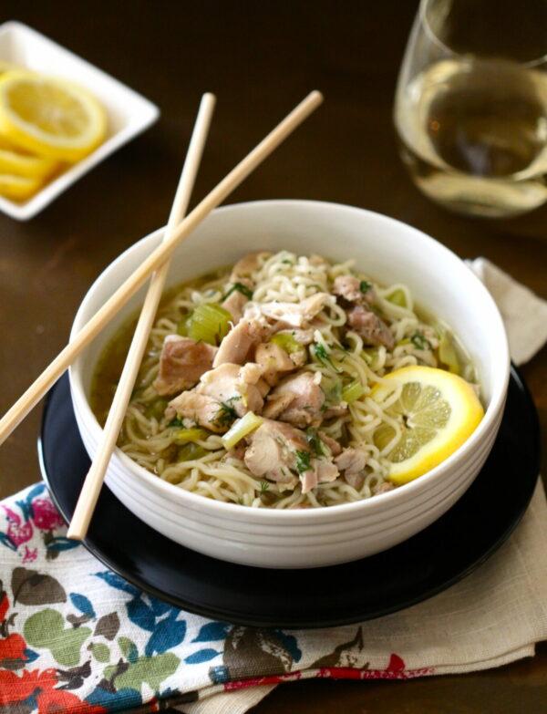 lemon chicken and ramen noodle soup