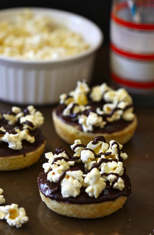 Baked Doughnuts With Chocolate Glaze And Popcorn
