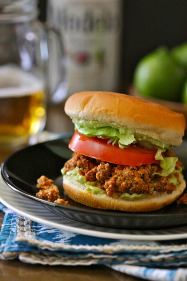 turkey taco burger with avocado crema www.climbinggriermountain.com