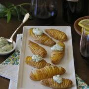 hasselback fingerling potatoes with lemon basil goat cheese www.climbinggriermountain.com