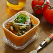 grilled veggie caponata with parmesan shavings www.climbinggriermountain.com