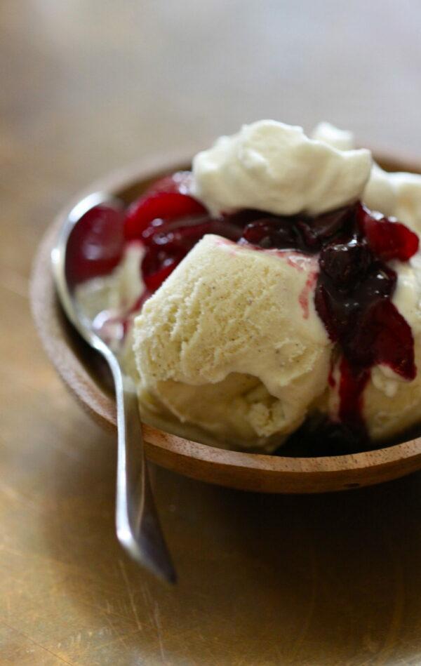vanilla gelato with peach-berry compote & honey whipped cream www.climbinggriermountain.com