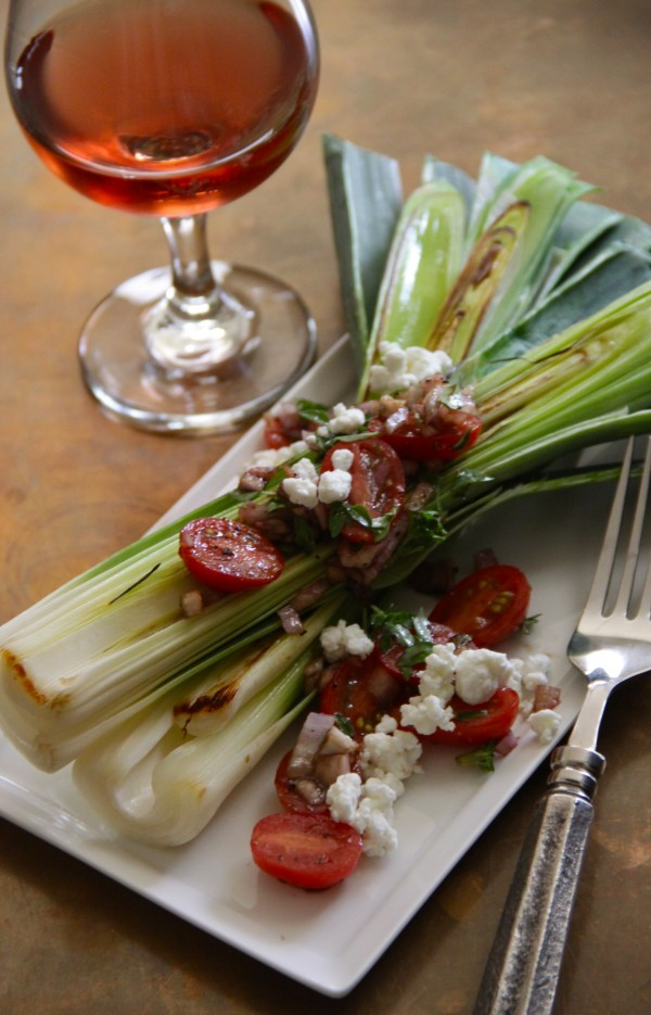 grilled leeks with garden tomatoes and fresh basil www.climbinggriermountain.com