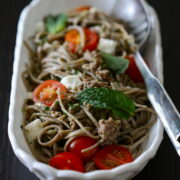 soba noodles with ground lamb and mint pesto  www.climbinggriermountain.com