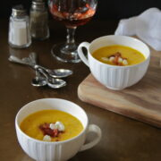 cool cantaloupe gazpacho with goat cheese & crispy bacon www.climbinggriermountain.com