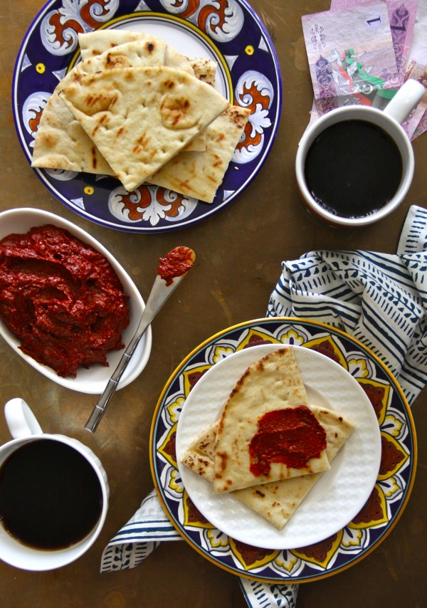north african spiced harissa with grilled pita www.climbinggriermountain.com