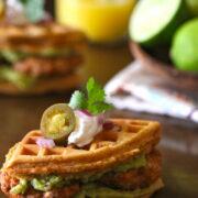 spiced mini waffle breakfast sandwiches with chicken chorizo & guacamole www.climbinggriermountain.com
