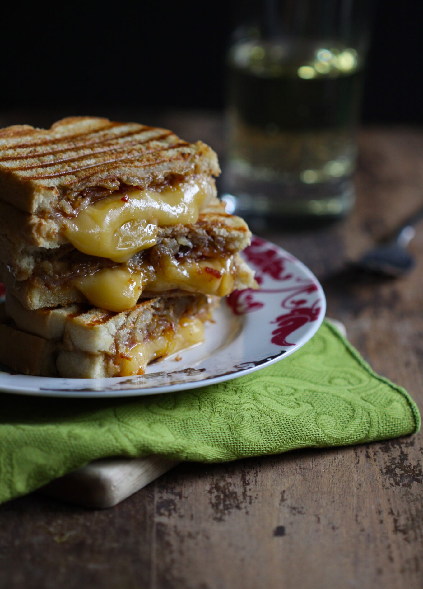 Peanut Butter And Bacon Sandwiches With Fontina Cheese Caramelized Onions Climbing Grier Mountain