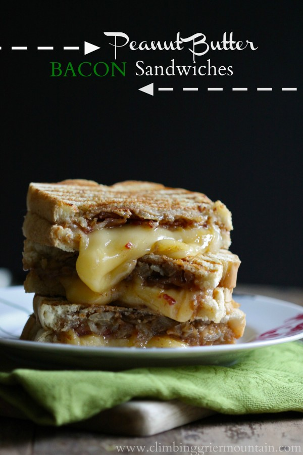 peanut butter and bacon sandwiches with fontina cheese + caramelized onions www.climbinggriermountain.com