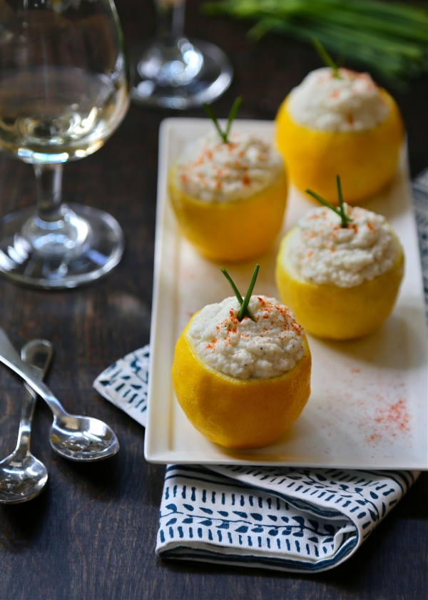 """cauliflower mashed """"potatoes"""" in a lemon cup with smoked paprika www.climbinggriermountain.com"""