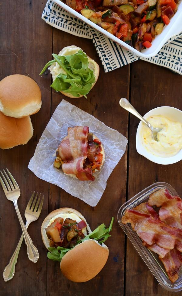 bacon ratatouille sliders with lemon saffron aioli www.climbinggriermountain.com