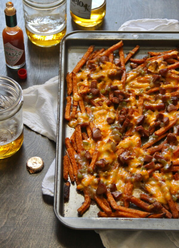 sweet potato fries with andouille gravy and pimento cheese www.climbinggriermountain.com
