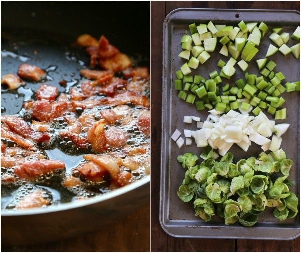 foodie fridays: brussel sprout, bacon, and apple naan stuffing www.climbinggriermountain.com