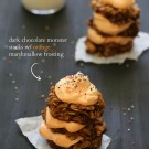 dark chocolate monster stacks with orange marshmallow frosting www.climbinggriermountain.com