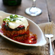 cheesy meatloaf stacks with grilled eggplant & fresh basil www.climbinggriermountain.com