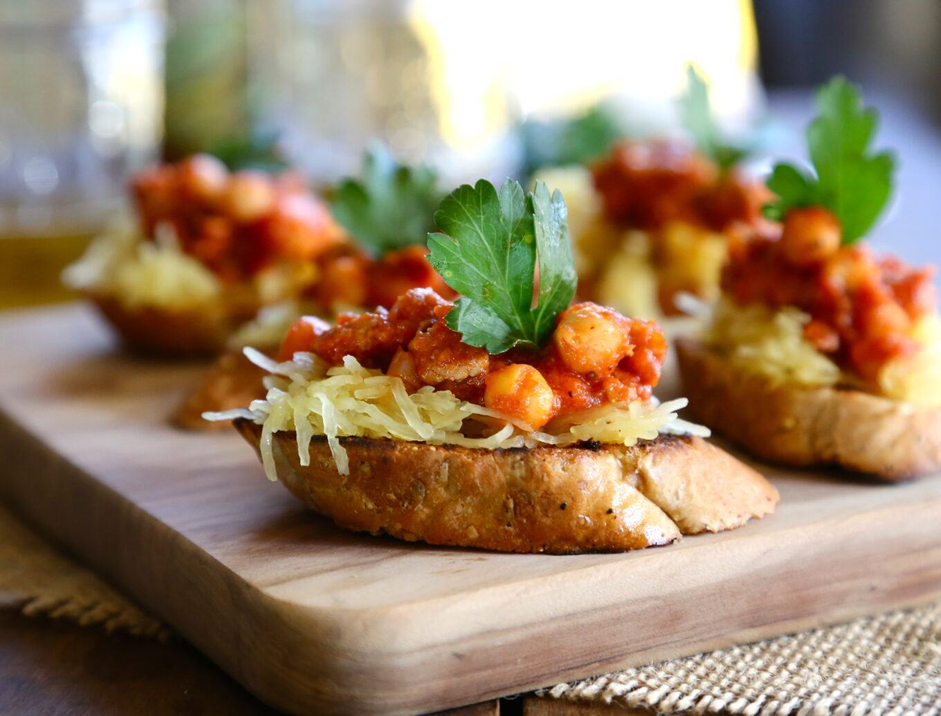 Foodie Fridays Spiced Spaghetti Squash Crostini With Chorizo Chickpeas Climbing Grier Mountain
