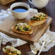 creamy scrambled-egg toasts with bacon & whole grain mustard cream sauce www.climbinggriermountain.com