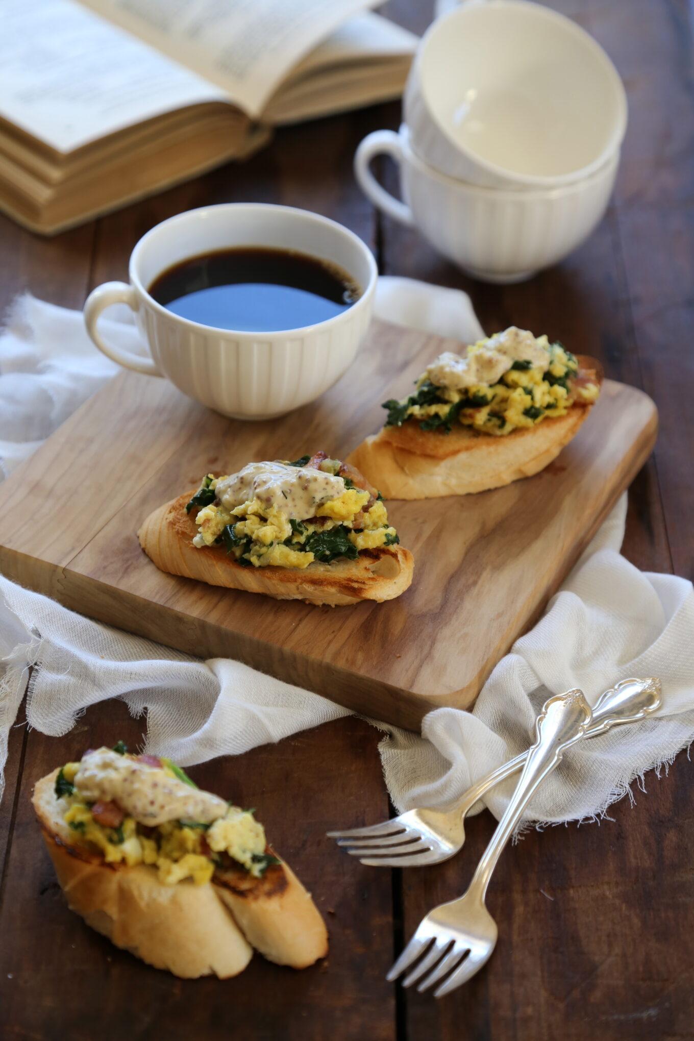 Creamy Scrambled Egg Toasts With Bacon Whole Grain Mustard Cream Sauce Climbinggriermountain