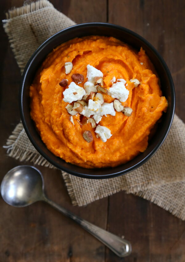 harissa sweet potatoes with goat cheese & candied pecans www.climbinggriermountain.com