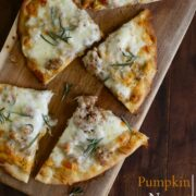 pumpkin naan pizza with gruyere & fresh herbs www.climbinggriermountain.com