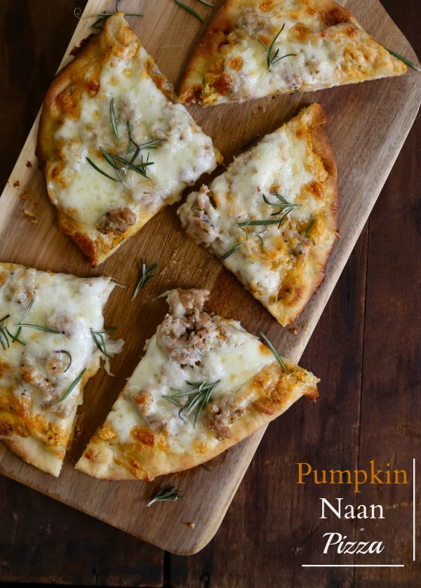 pumpkin naan pizza with gruyere & fresh herbs www.climbinggriermountain.com