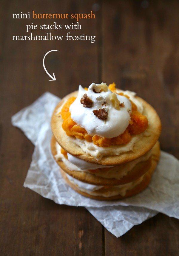 mini butternut squash pie stacks with marshmallow frosting www.climbinggriermountain.com