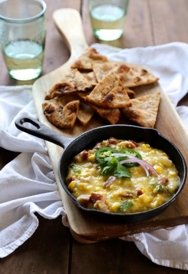 cajun corn poblano queso with naan chips www.climbinggriermountain.com