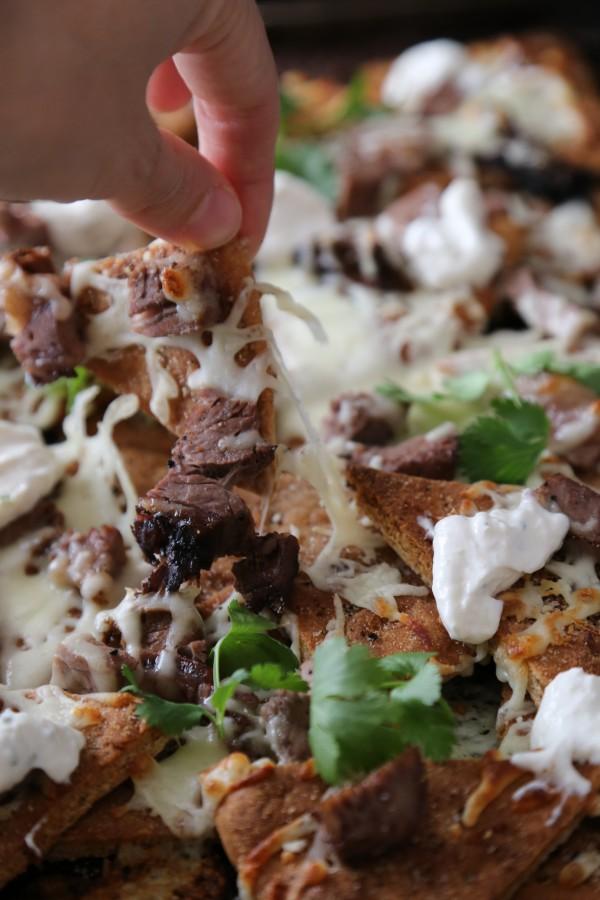 Leftover Prime Rib Naan Nachos with Horseradish Cream www.climbinggriermountain.com
