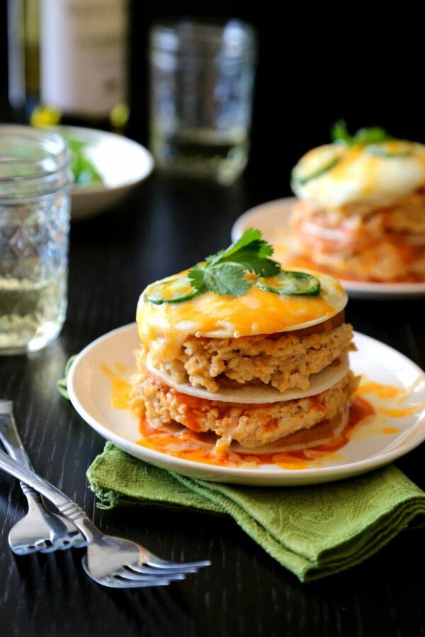 cheesy chicken enchilada 'double' stacks www.climbinggriermountain.com