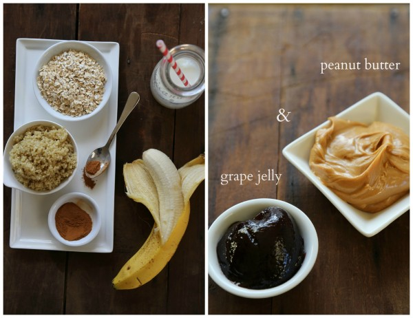 collage peanut butter porridge two