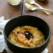 peanut butter and jelly porridge with chunky granola www.climbinggriermountain.com