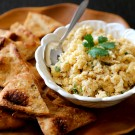 spiced cauliflower spread with naan chips www.climbinggriermountain.com