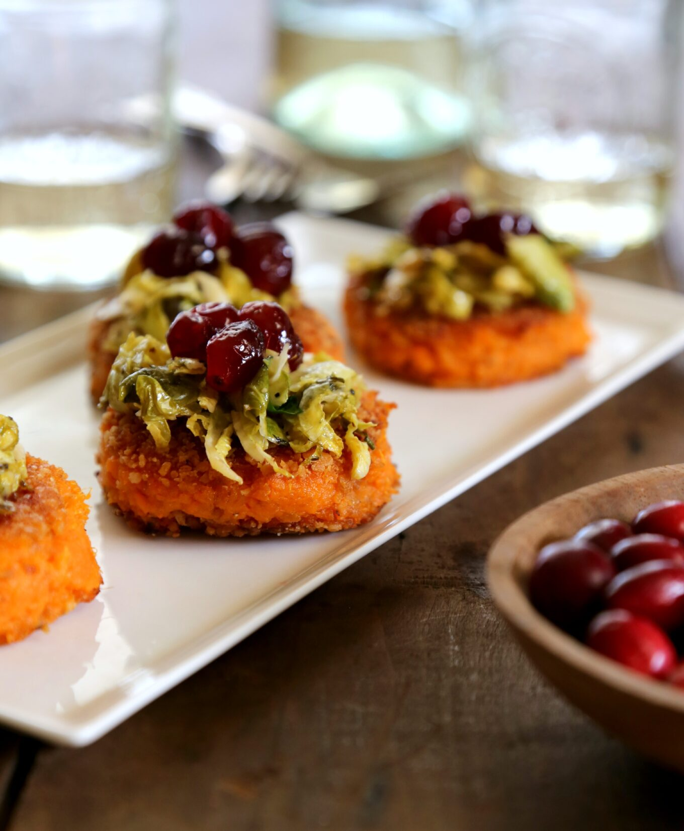 sweet potato bites with apple cider brussel sprouts & cranberry