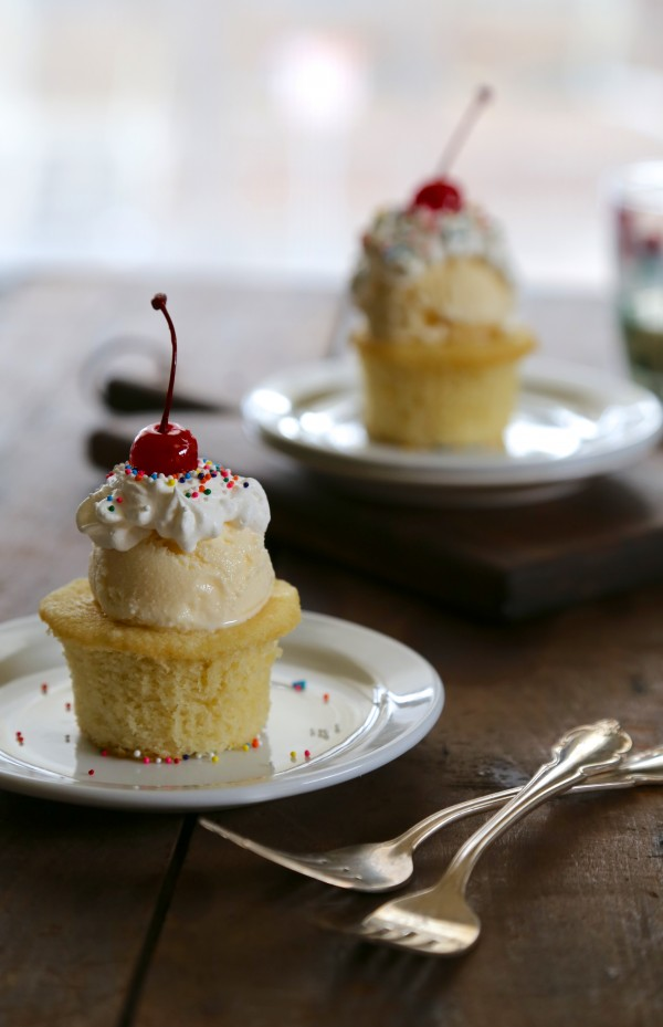 mini lemon pound cake sundaes with honey-bourbon whipped cream www.climbinggriermountain.com