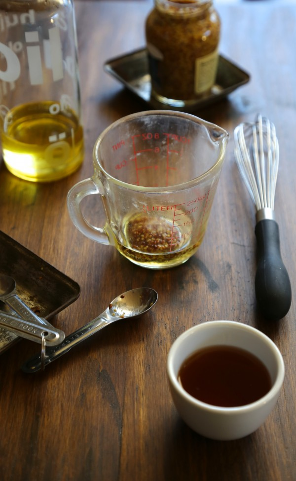 winter squash salad with quinoa, dandelion greens, & whole grain mustard vinaigrette