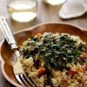 winter squash salad with quinoa, dandelion greens, & whole grain mustard vinaigrette www.climbinggriermountain.com