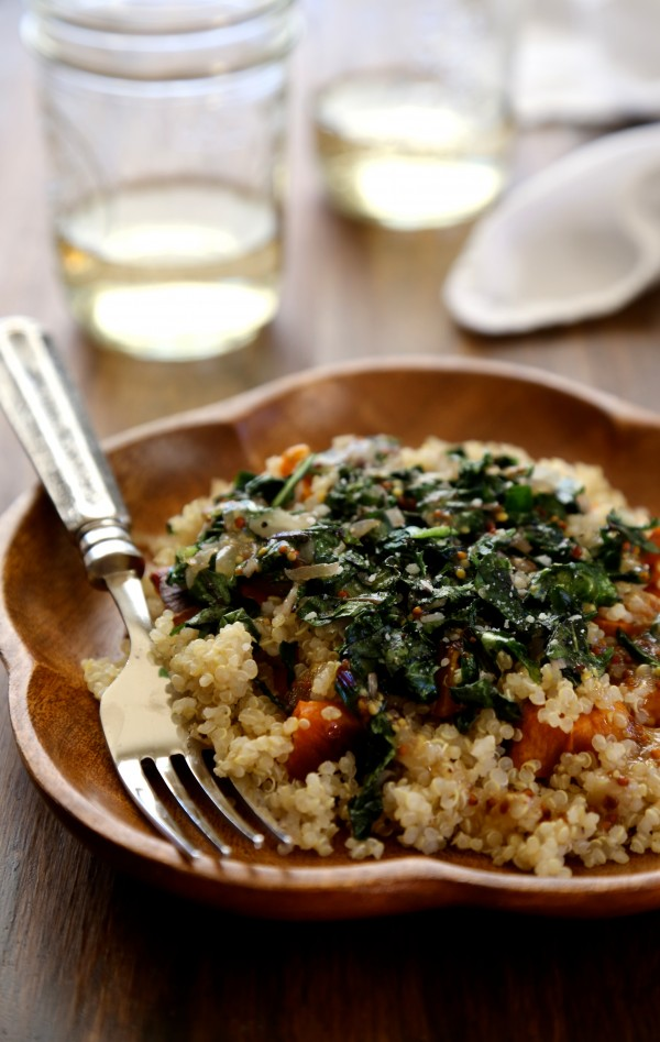 winter squash salad with quinoa, dandelion greens, & whole grain mustard vinaigrette www.climbinggriermountain.com