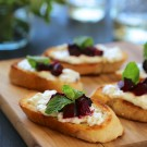 roasted balsamic beet and burrata crostini with fresh mint www.climbinggriermountain.com