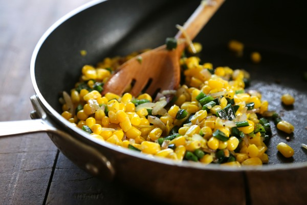 cheesy egg quesadilla with poblano corn relish