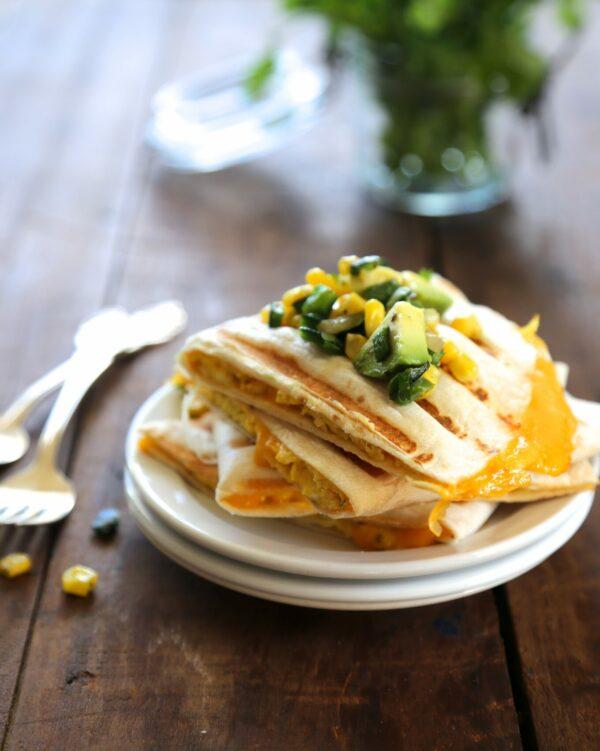 cheesy egg quesadilla with poblano corn relish www.climbinggriermountain.com
