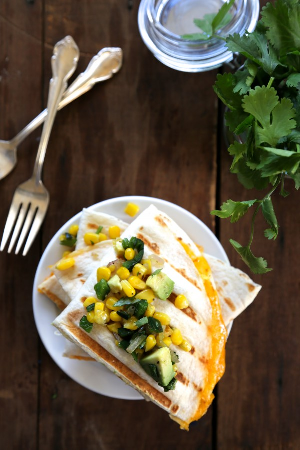 cheesy egg quesadilla with poblano corn relish www.cllimbinggriermountain.com