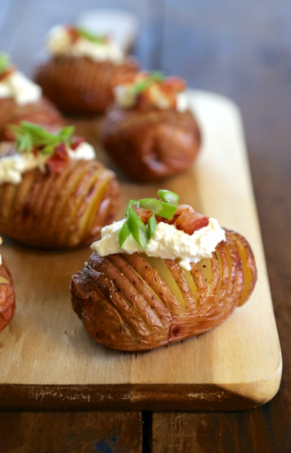 mini hasselback red potatoes with burrata & bacon www.climbinggriermountain.com