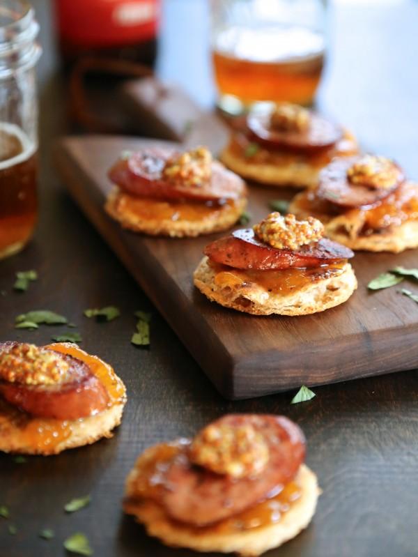 andouille, apricot chutney, & whole grain mustard naan toasts www.climbinggriermountain.com