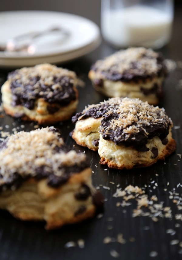 dark chocolate heart scones with chocolate ganache & toasted coconut www.climbinggriermountain.com