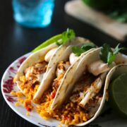 spiced barramuni tacos with spanish rice & chipotle cream www.climbinggriermountain.com