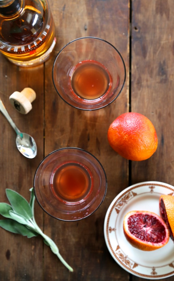 blood orange bourbon fizz with fried sage
