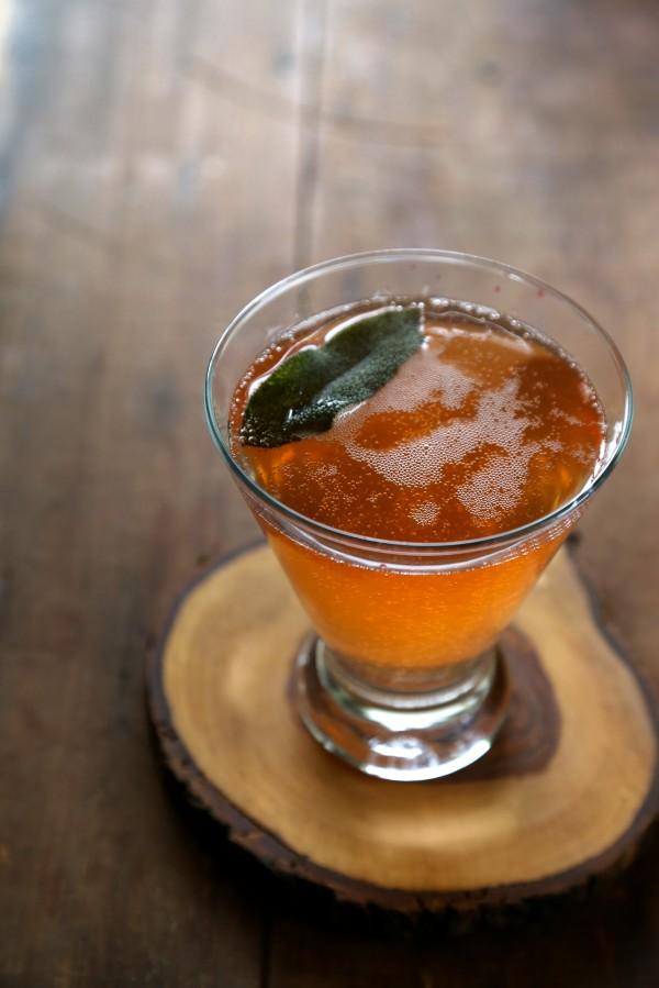 blood orange bourbon fizz with fried sage www.climbinggriermountain.com