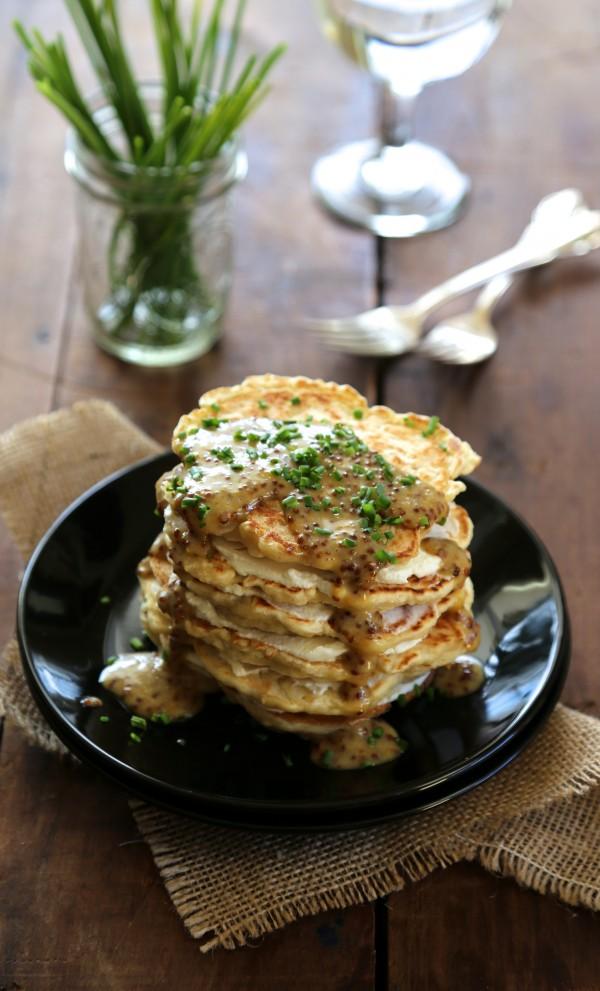 sourdough pancakes with fresh ricotta & mustard-maple glaze www.climbinggriermountain.com