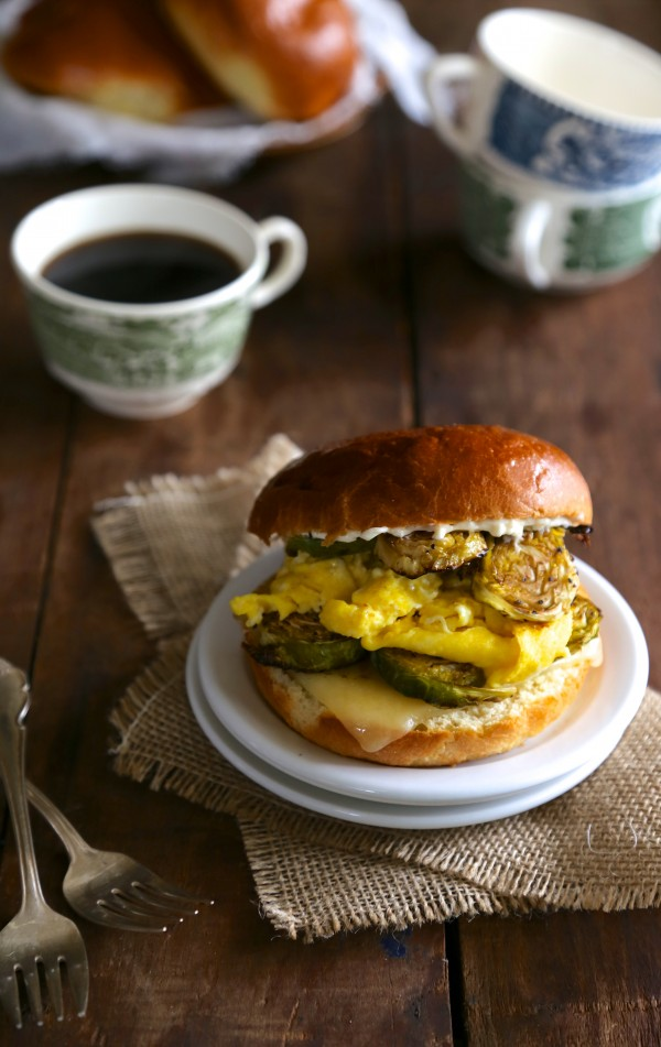 Egg Sandwich with Balsamic Roasted Brussels Sprouts & Lemon Aioli www.climbinggriermountain.com