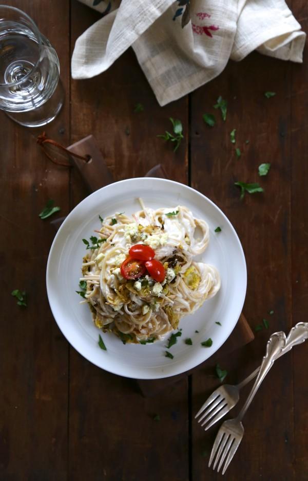 whole wheat spaghetti with roasted brussel sprouts & greek yogurt cream sauce www.climbinggriermountain.com